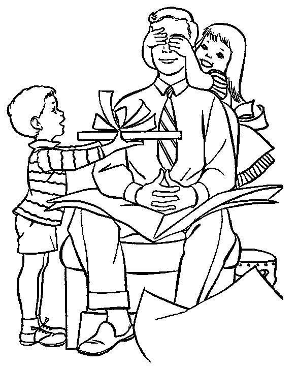 Раскраска мальчик дарит подарок, с 23 февраля. Скачать 23 февраля.  Распечатать 23 февраля