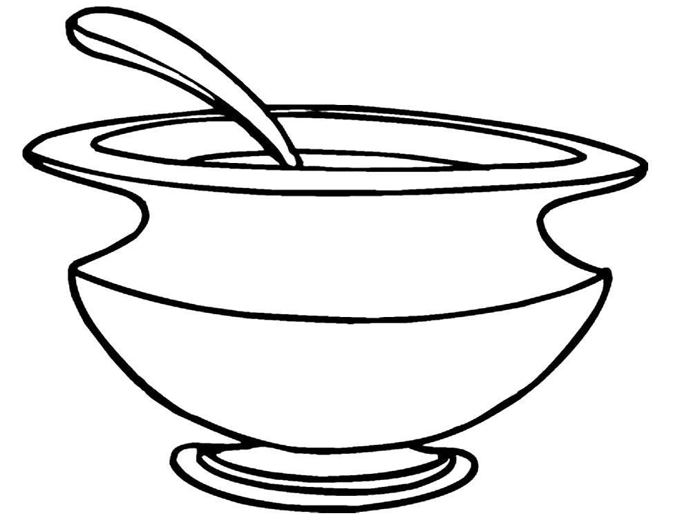 Раскраска Супница. Скачать посуда.  Распечатать посуда