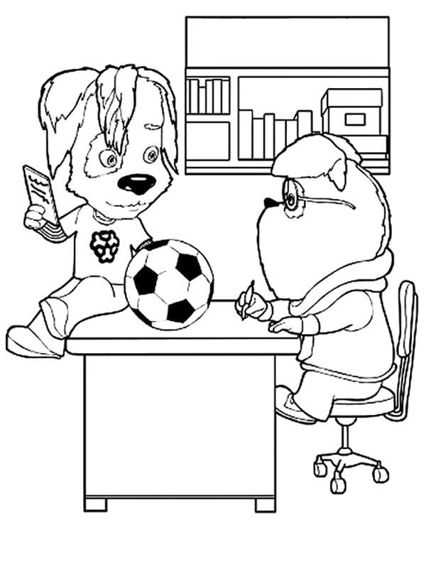 Раскраска Дружок играет в мяч, дружок мешает, Гена сидит за столом . Скачать Барбоскины.  Распечатать Барбоскины