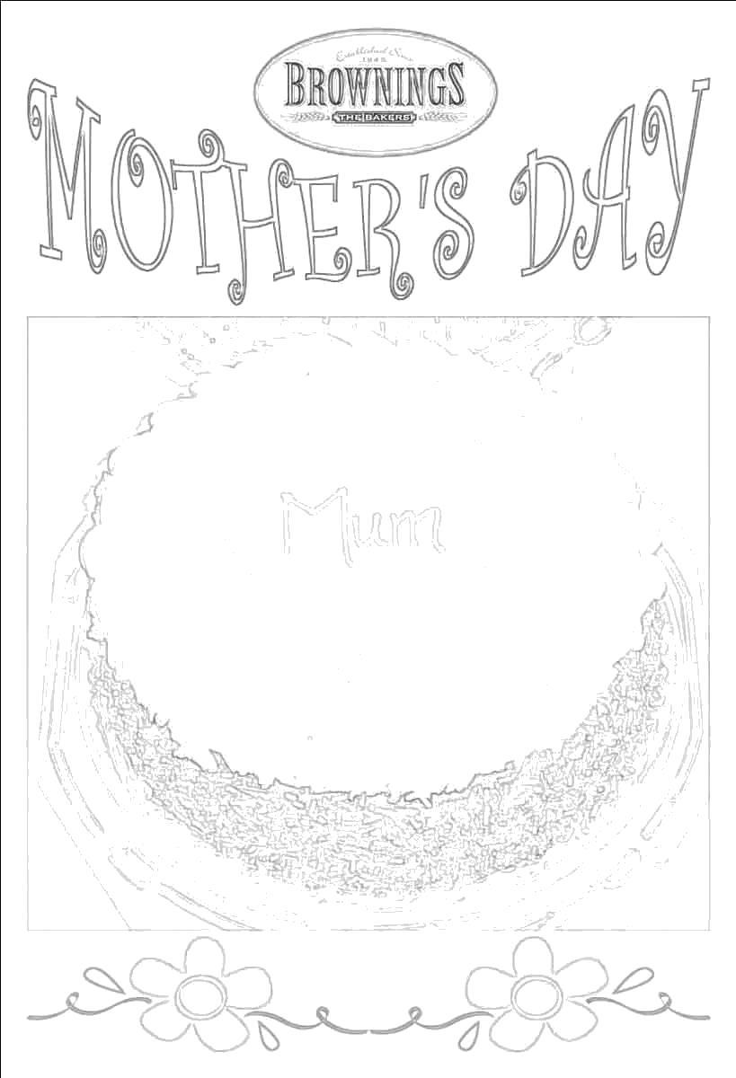 Раскраска Английская открытка на день матери. Скачать День Матери.  Распечатать День Матери