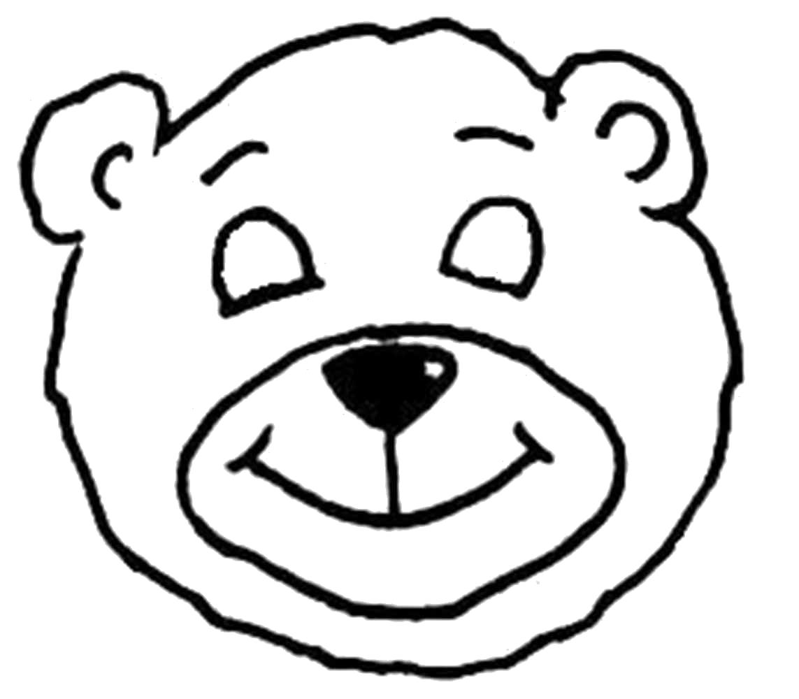 Раскраска Трафарет медвежонка. Скачать Трафарет.  Распечатать Трафарет