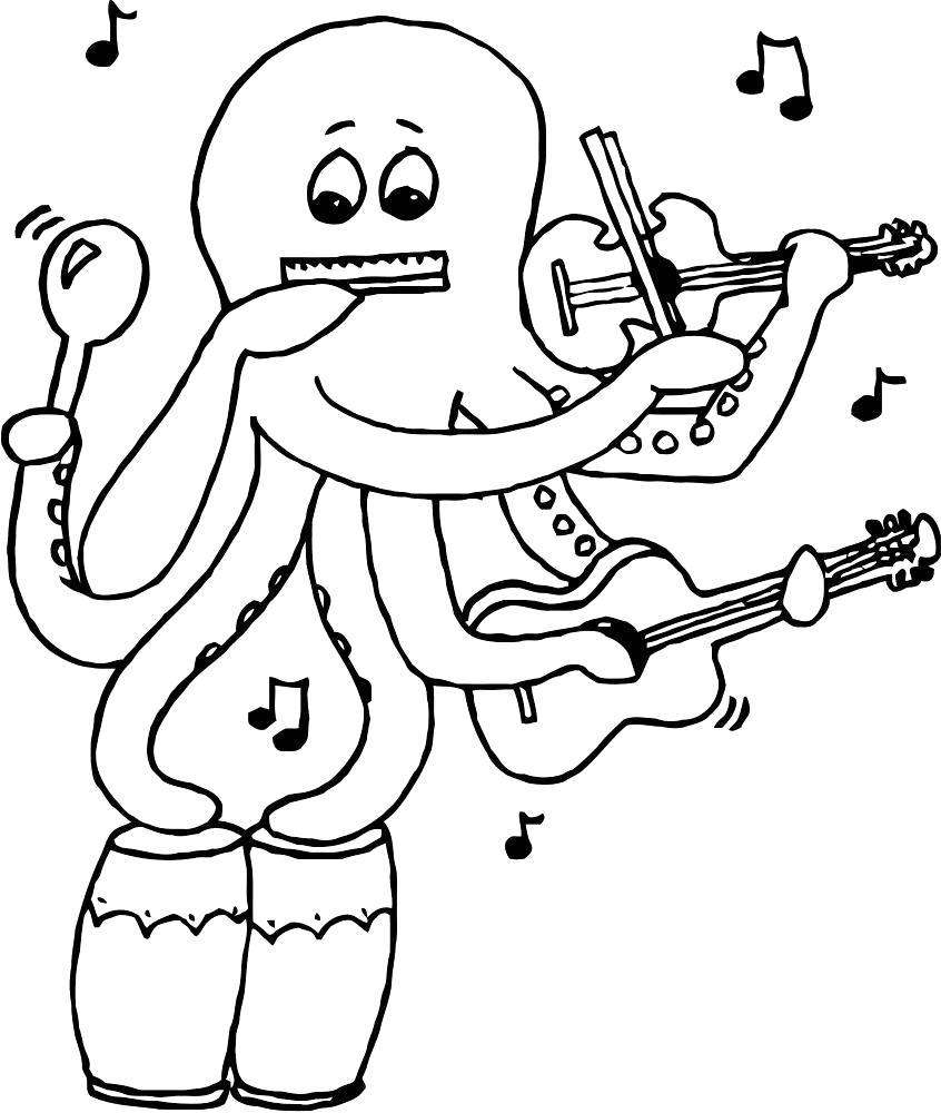 Раскраска Музыкант осьминог. Скачать .  Распечатать
