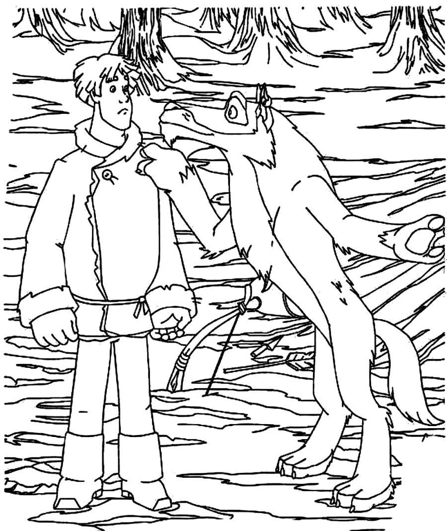 Раскраска Разговор Волка и Ивана. Скачать .  Распечатать