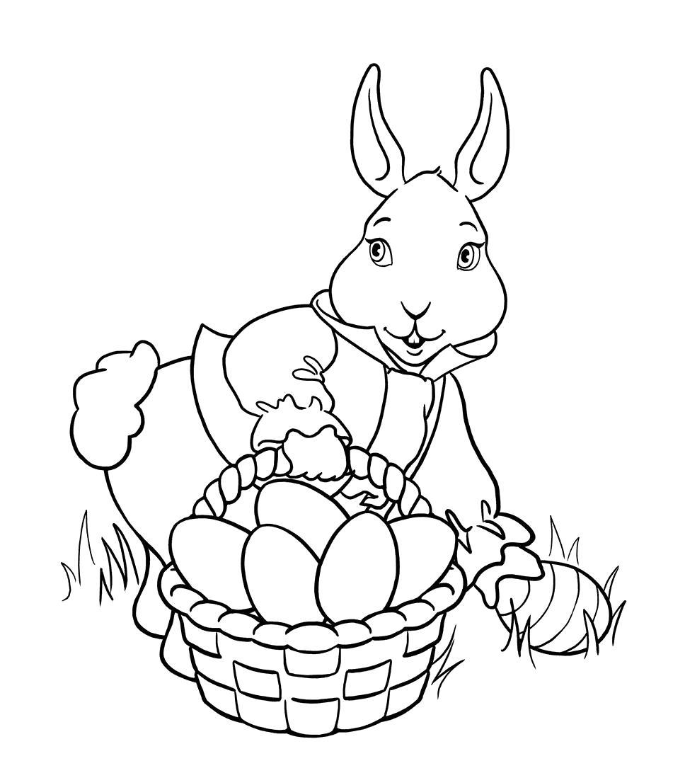 Раскраска зайчиха несет яйцо. Скачать на Пасху.  Распечатать на Пасху