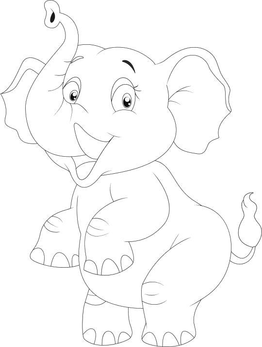 Раскраска слоник танцующий. Скачать слон.  Распечатать слон
