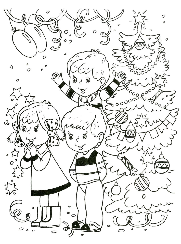 Раскраска . Новый год. Дети радуются новогоднему празднику.. Скачать Елка.  Распечатать Новый год