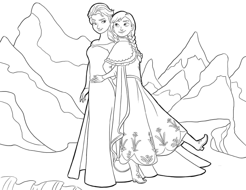 Раскраска Эльза и Анна в горах. Скачать Эльза.  Распечатать Эльза