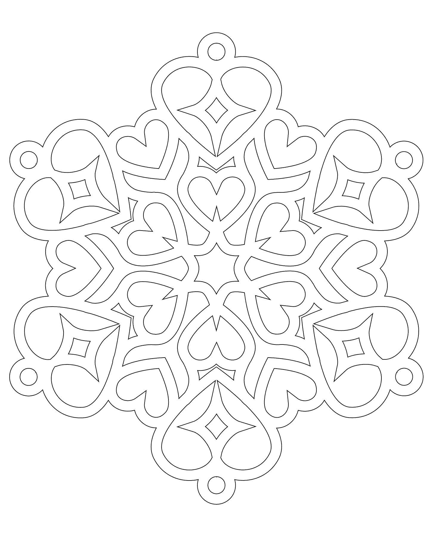 Раскраска снежинки трафарет снежинки из бумаги. Скачать Трафарет.  Распечатать Трафарет
