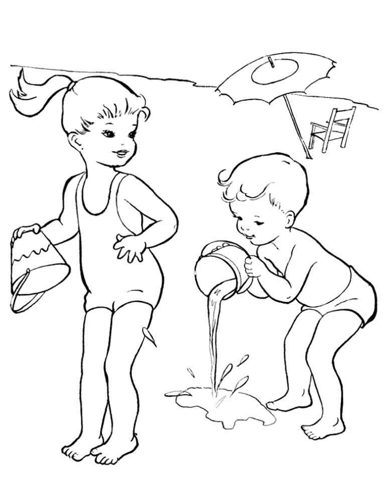 Раскраска мальчик поливает из ведра, девочка с ведром. Скачать Лето.  Распечатать Лето