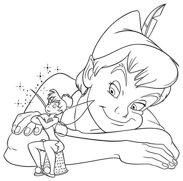 Раскраска  - Питер Пэн - Динь-Динь и Питер Пэн. Скачать Питер Пэн.  Распечатать Питер Пэн