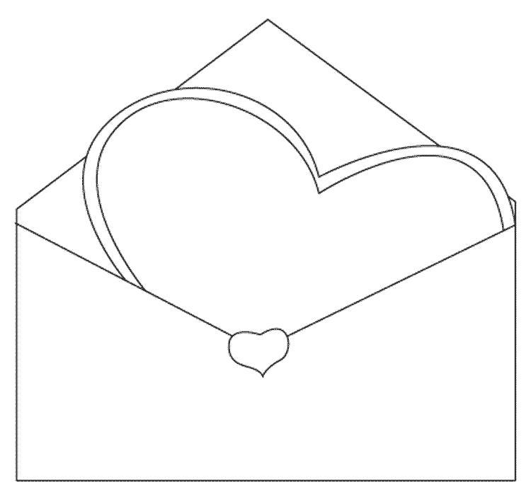 Раскраска Сердце в конверте. Скачать сердце.  Распечатать сердце