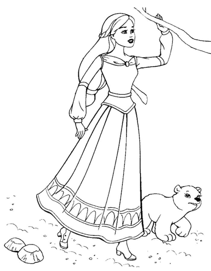 Раскраска  Барби с медвежонком. Скачать барби.  Распечатать барби