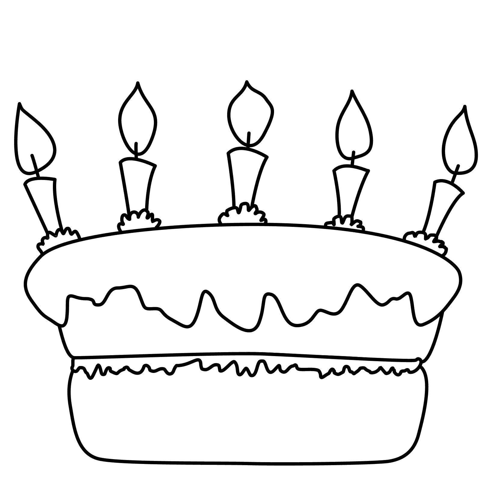 Раскраска Свечки на торте . Скачать торт.  Распечатать еда