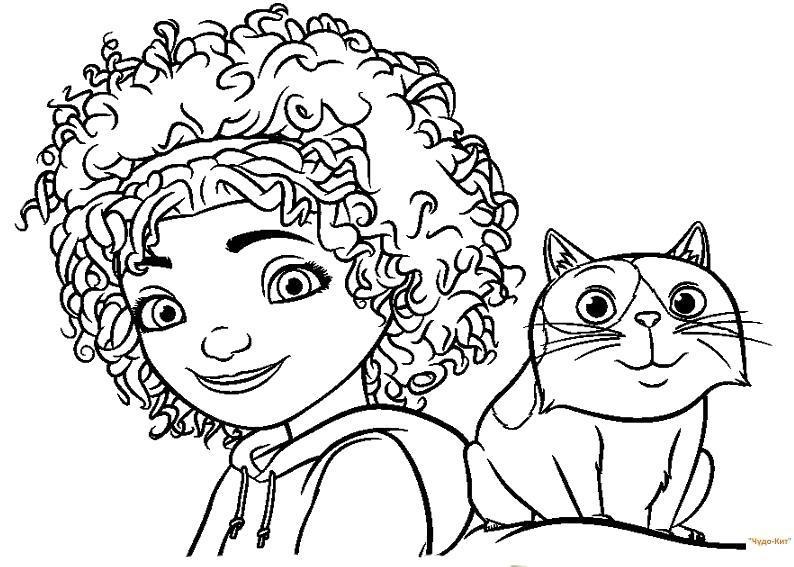 Раскраска Девочка и котик. Скачать .  Распечатать