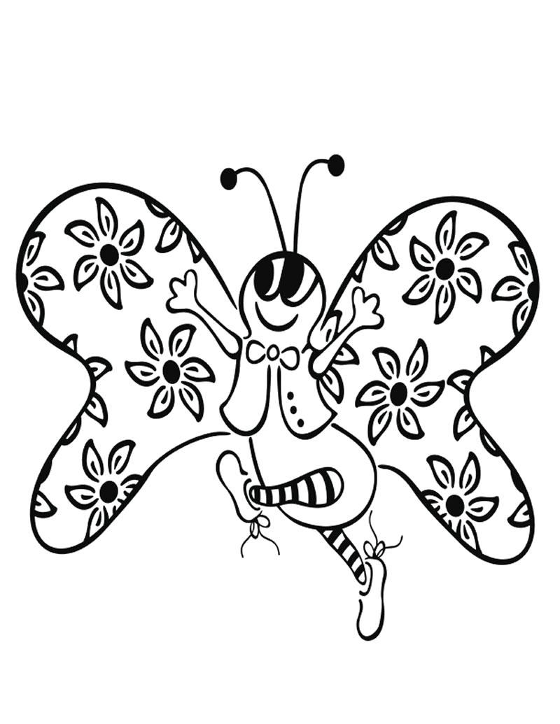 Раскраска Бабочка радуется весне. Скачать Весна.  Распечатать Весна