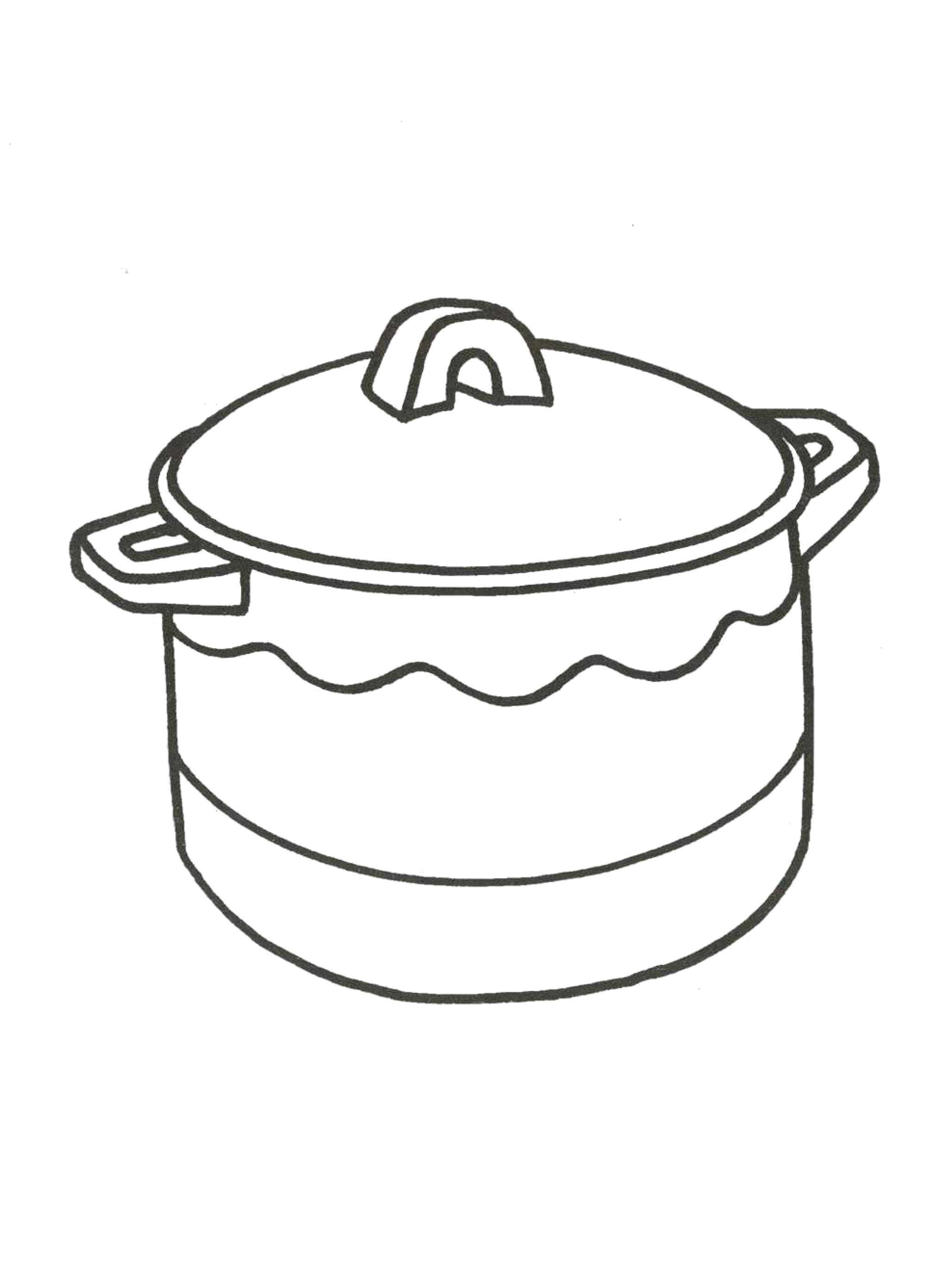 Раскраска кастрюля, кухня, посуда. Скачать кастрюля.  Распечатать кастрюля