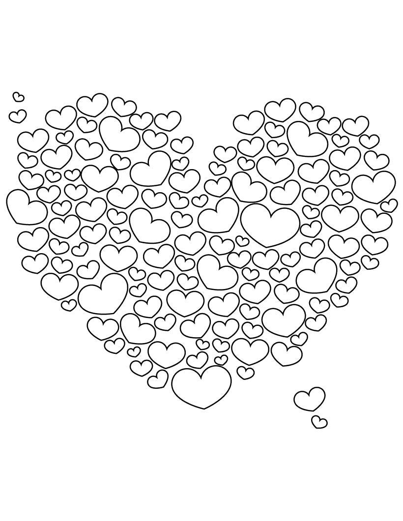 Раскраска Много сердечек. Скачать сердечки.  Распечатать сердечки