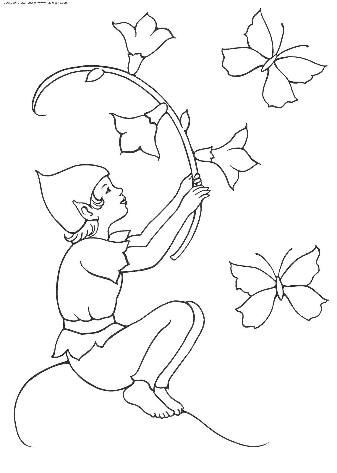Раскраска  Эльф играет с колокольчиками .  Эльф с цветами и в колпачке. Скачать Эльф.  Распечатать Эльф