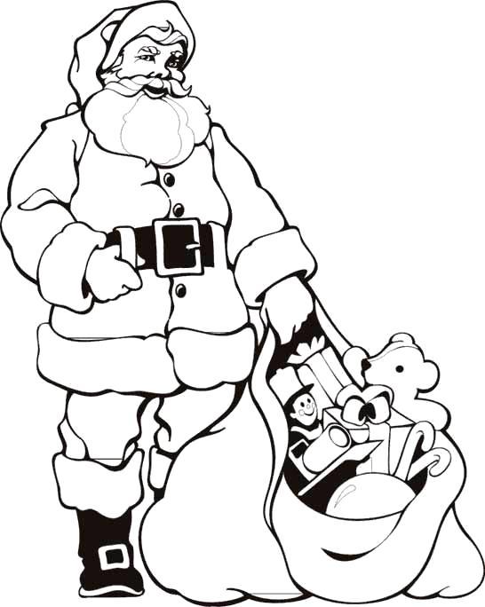 Раскраска Новогодние , дед мороз принес подарки, мешок с подарками. Скачать новогодние.  Распечатать новогодние