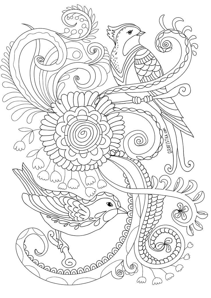 Раскраска  антистресс -птицы в саду. Скачать антистресс.  Распечатать антистресс