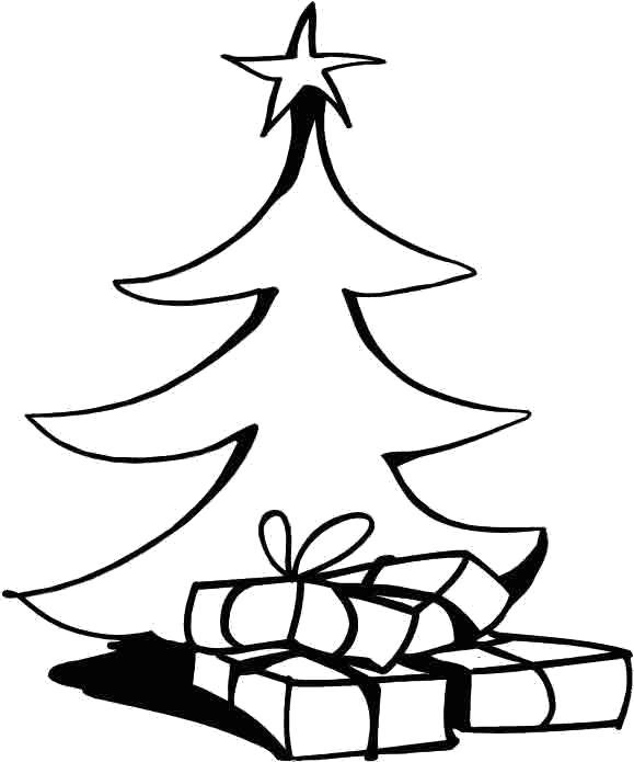 Раскраска Простая . Елка и подарки.. Скачать Елка.  Распечатать Новый год