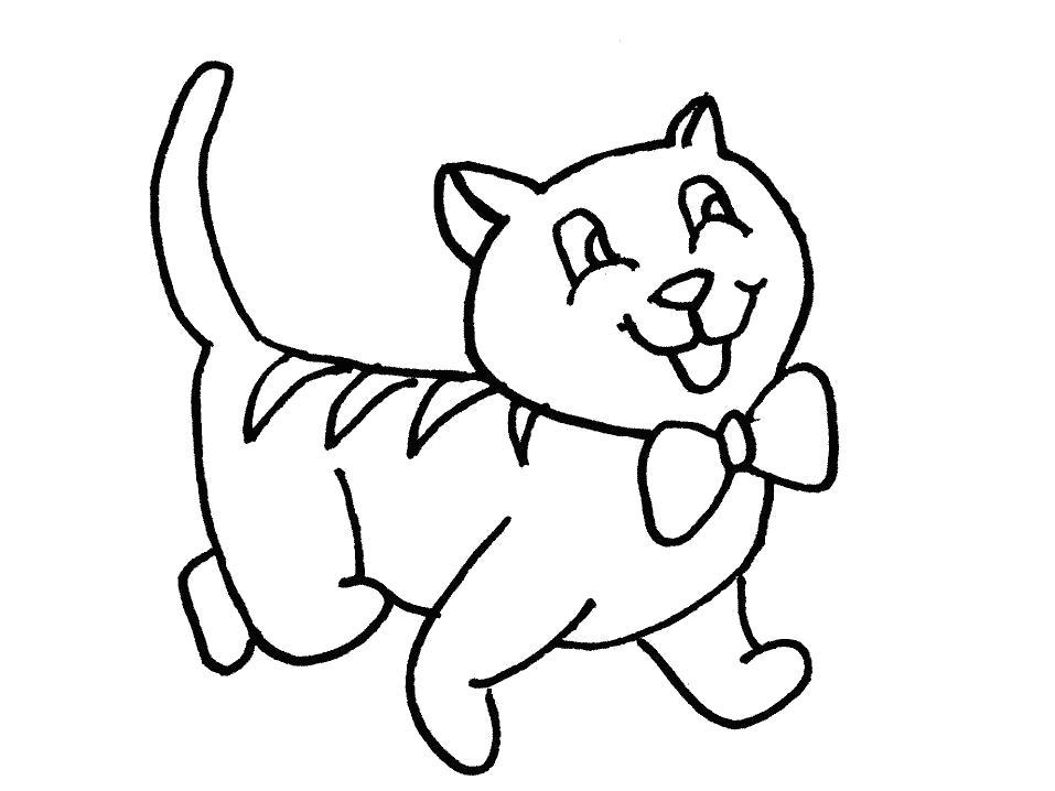 Раскраска  Радостная кошка с бантиком. Скачать кошка.  Распечатать кошка
