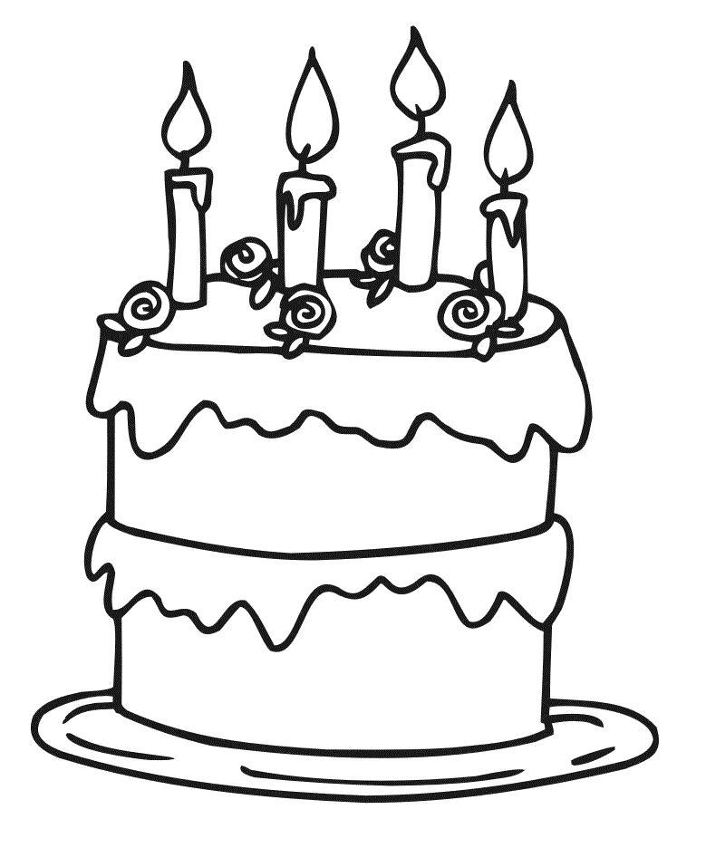 Раскраска вкусный торт. Скачать торт.  Распечатать еда