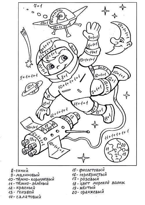 Раскраска  Математические  4 класс . Космонавт в космосе. Скачать Сложение.  Распечатать Математические раскраски