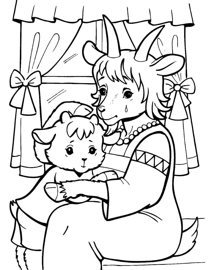 Раскраска Мама коза потеряла козлят . Скачать .  Распечатать