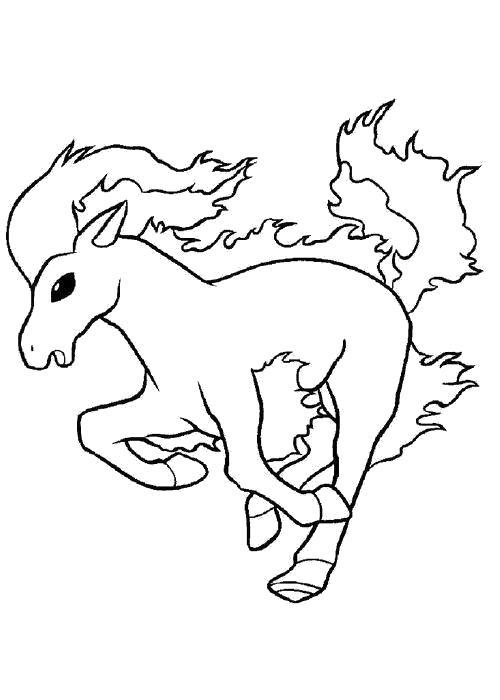 Раскраска  Конь. Скачать покемон.  Распечатать покемон