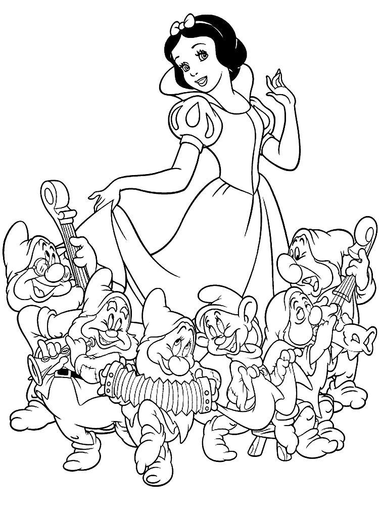 Раскраска Распечатать картинки с Белоснежкой и семью гномами для раскрашивания. Скачать гном.  Распечатать гном