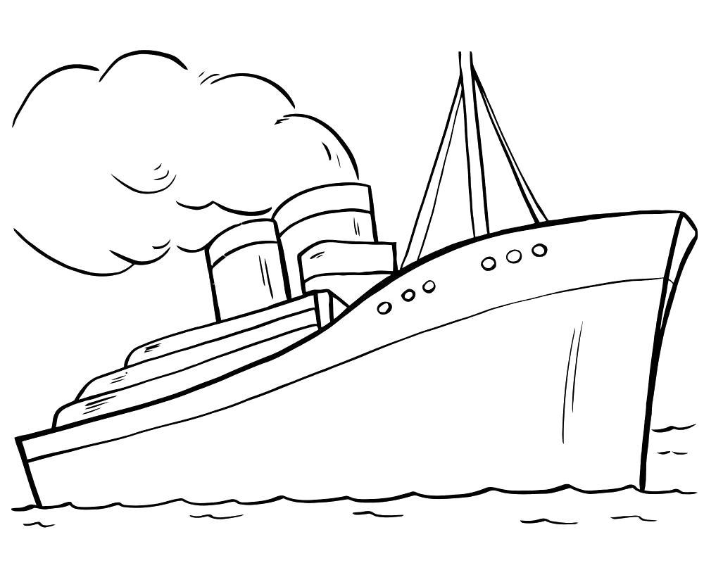 Раскраска Большой Лайнер, пассажирский лайнер. Скачать Кораблик.  Распечатать Кораблик