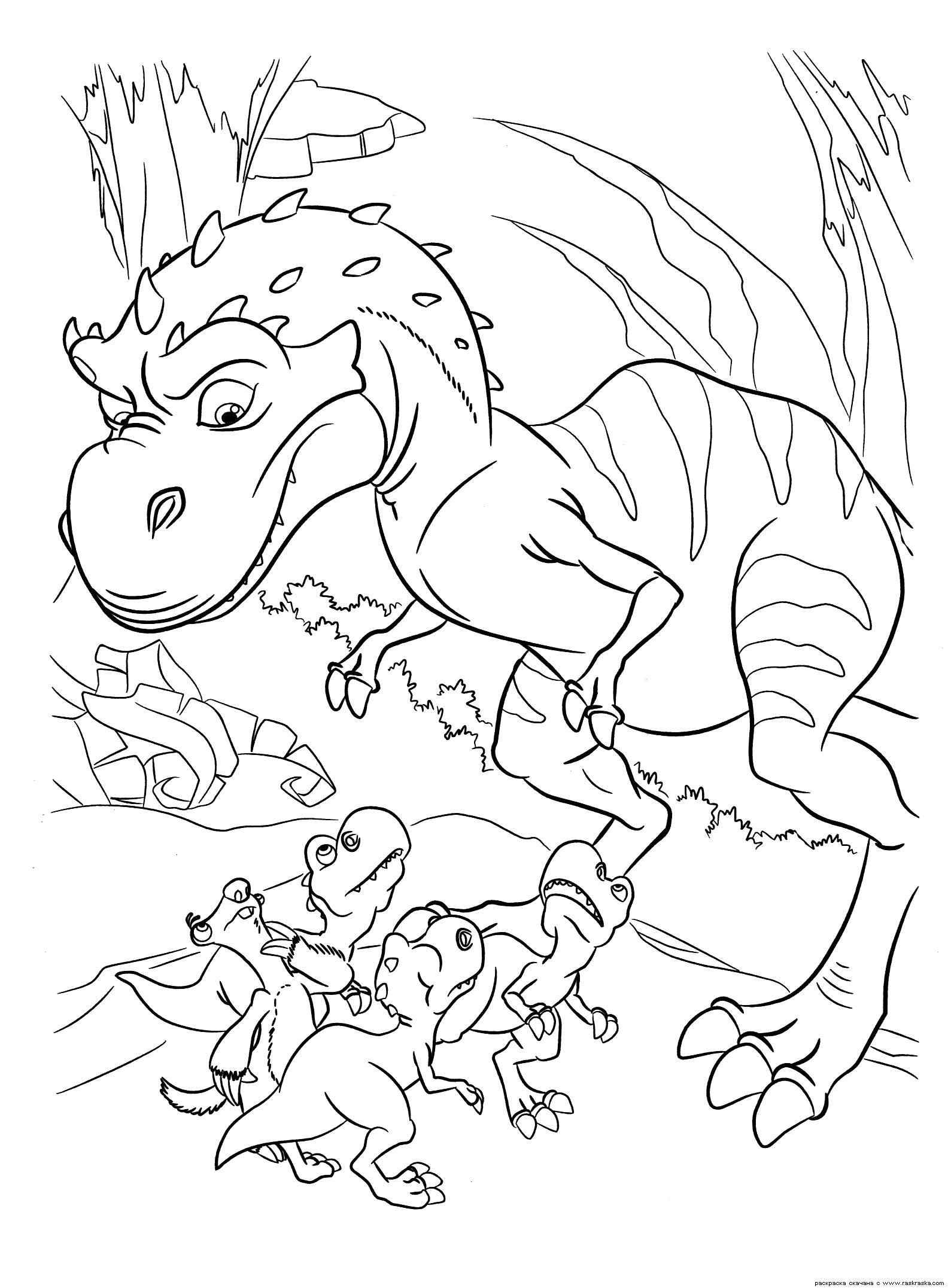 Раскраска  Мама динозавр.  Динозаврики из мультика Эра Динозавров, Ледниковый период 3, Сид ленивец разукрашка для детей. Скачать динозавр.  Распечатать динозавр