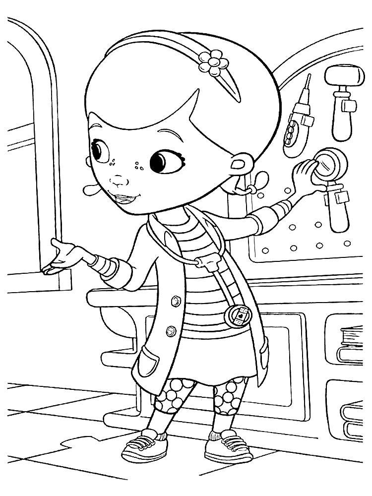 Раскраска  Доктора Плюшевой для детей. Скачать Доктор.  Распечатать Доктор
