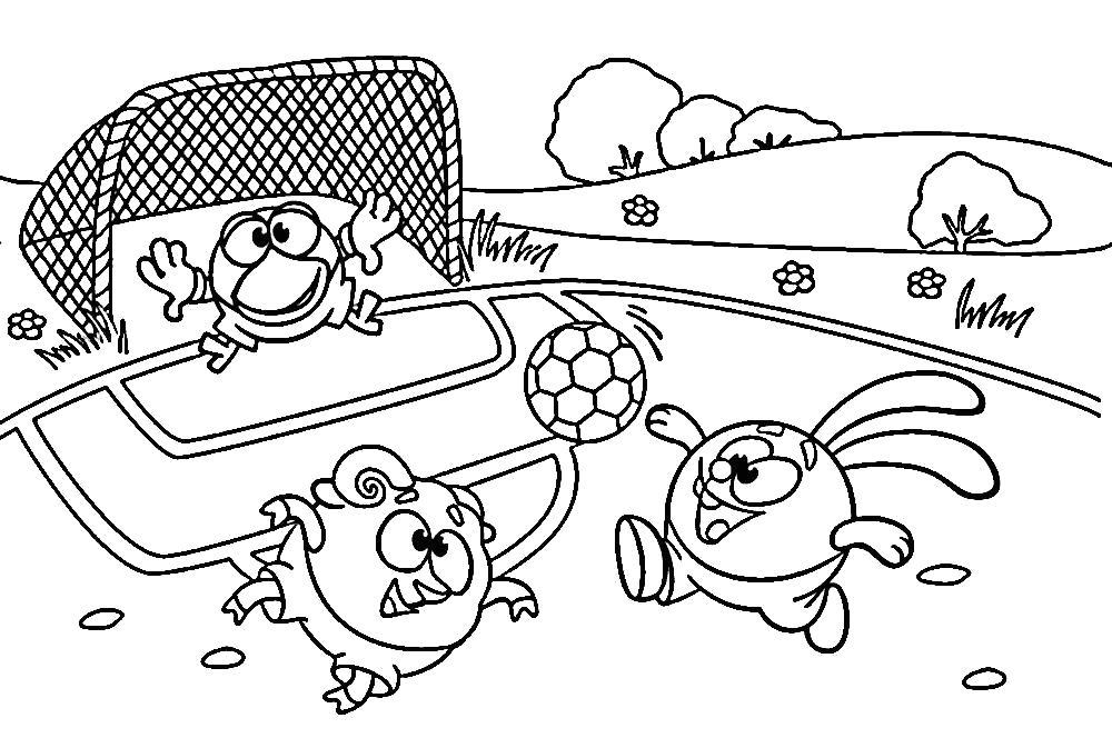 Раскраска карыч на воротах. смешарики играют в футбол. Скачать Крош, Бараш, Кар-Карыч.  Распечатать Смешарики