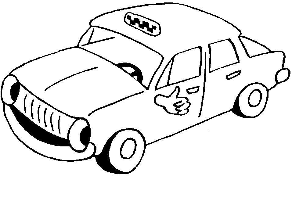 Раскраска  Такси. Скачать Автомобиль.  Распечатать Автомобиль