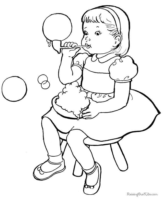Раскраска  девочка надувает мыльные пузыри. Скачать Девочка.  Распечатать Девочка