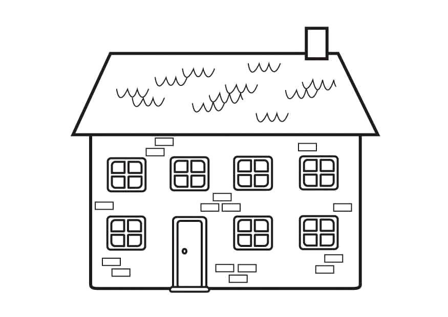 Раскраска Двухэтажный дом. Скачать Дом.  Распечатать Дом
