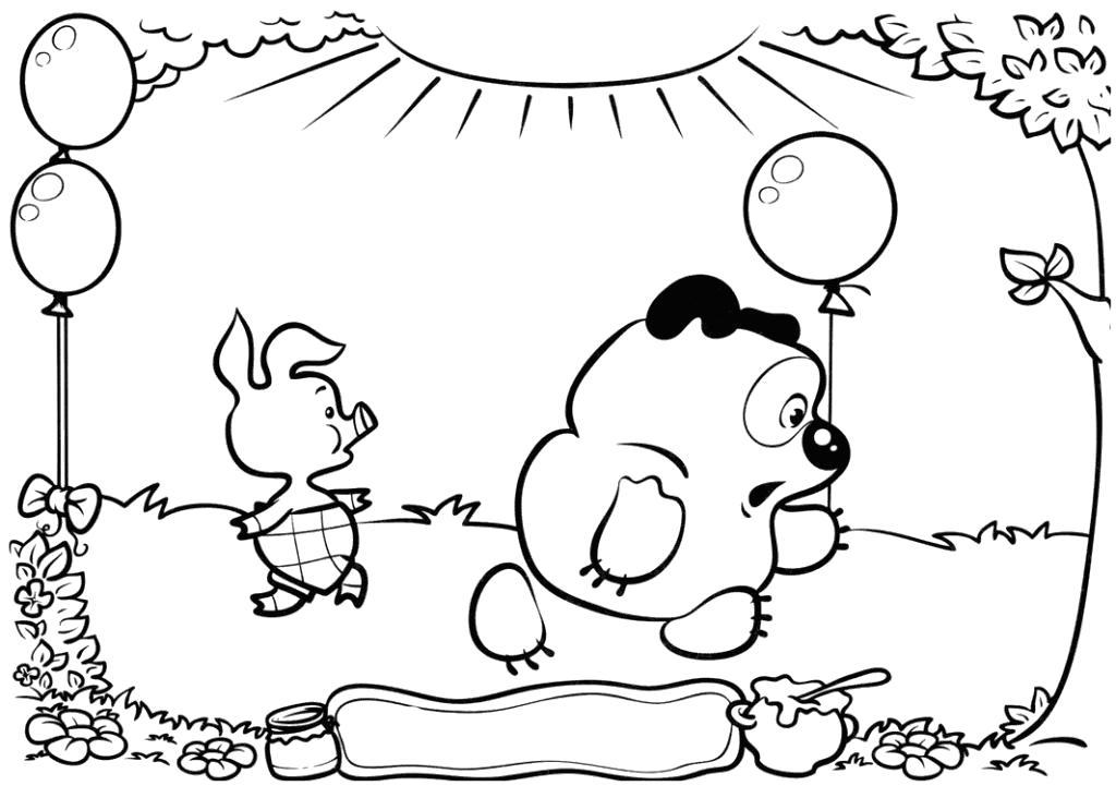 Раскраска  для детей Винни-пух и Пятачок. Скачать Винни.  Распечатать Винни