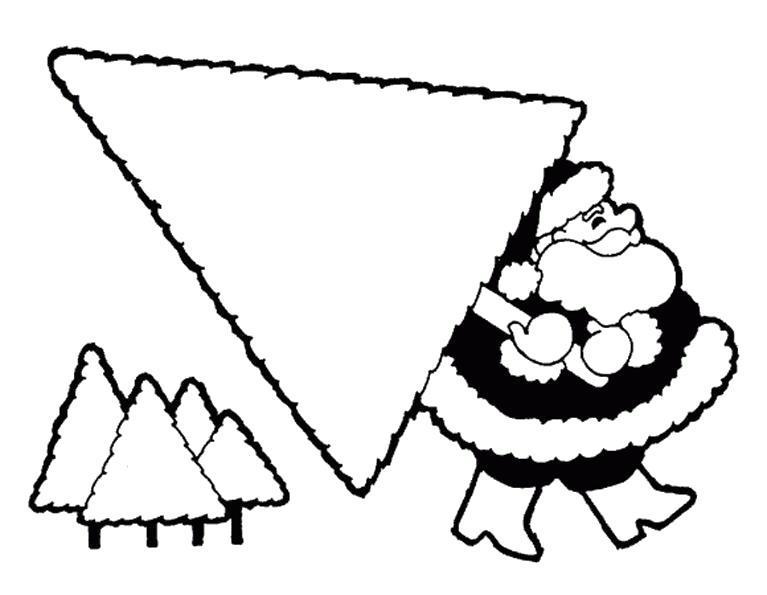 Раскраска Дед мороз несёт ёлку. Скачать .  Распечатать