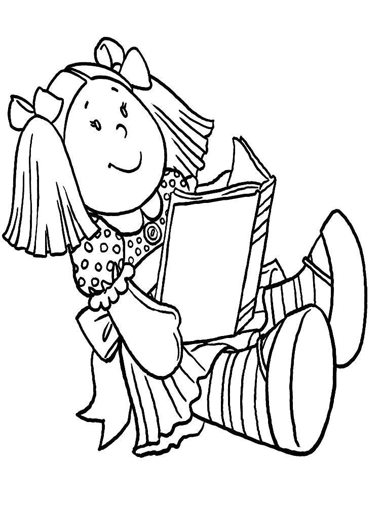 Раскраска Куклы  для малышей. Кукла читает книгу. Скачать .  Распечатать