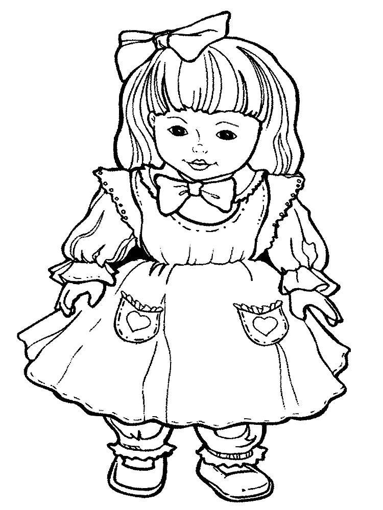 Раскраска Разукрашки куклы для детей. Скачать .  Распечатать
