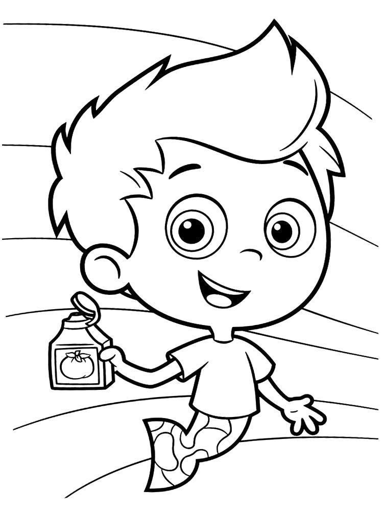 Раскраска Раскрашиваем с ребенком картинки Гуппи и пузырьки. Скачать .  Распечатать