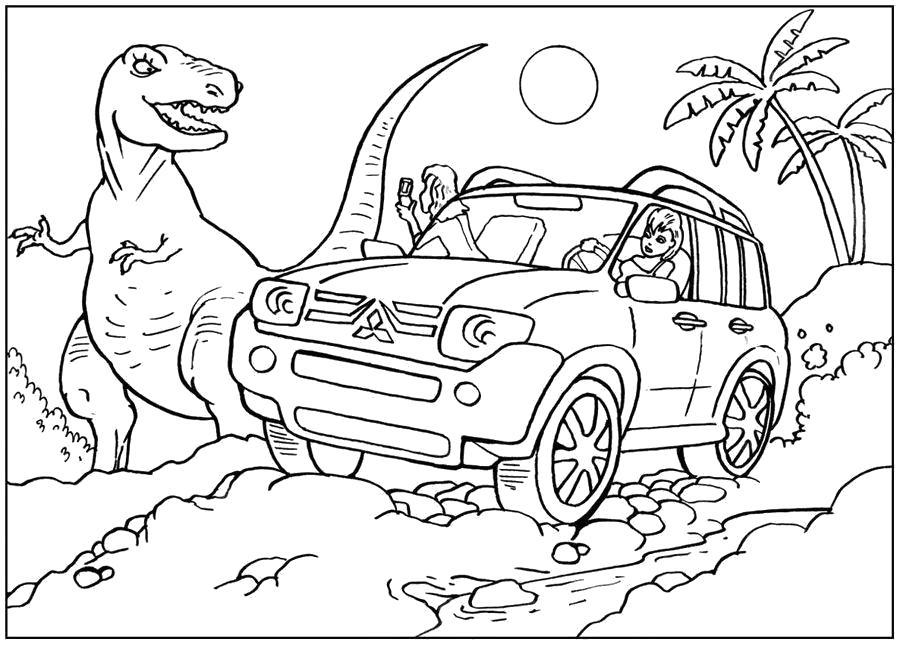 Раскраска  Джип и динозавры. Скачать Джип.  Распечатать Джип
