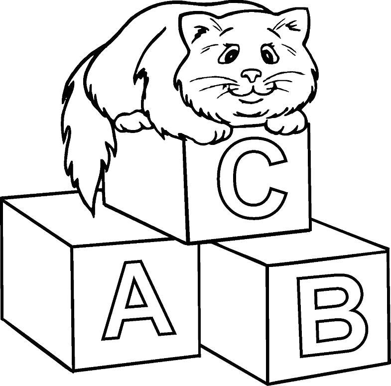 Раскраска Котик на кубиках. Скачать .  Распечатать