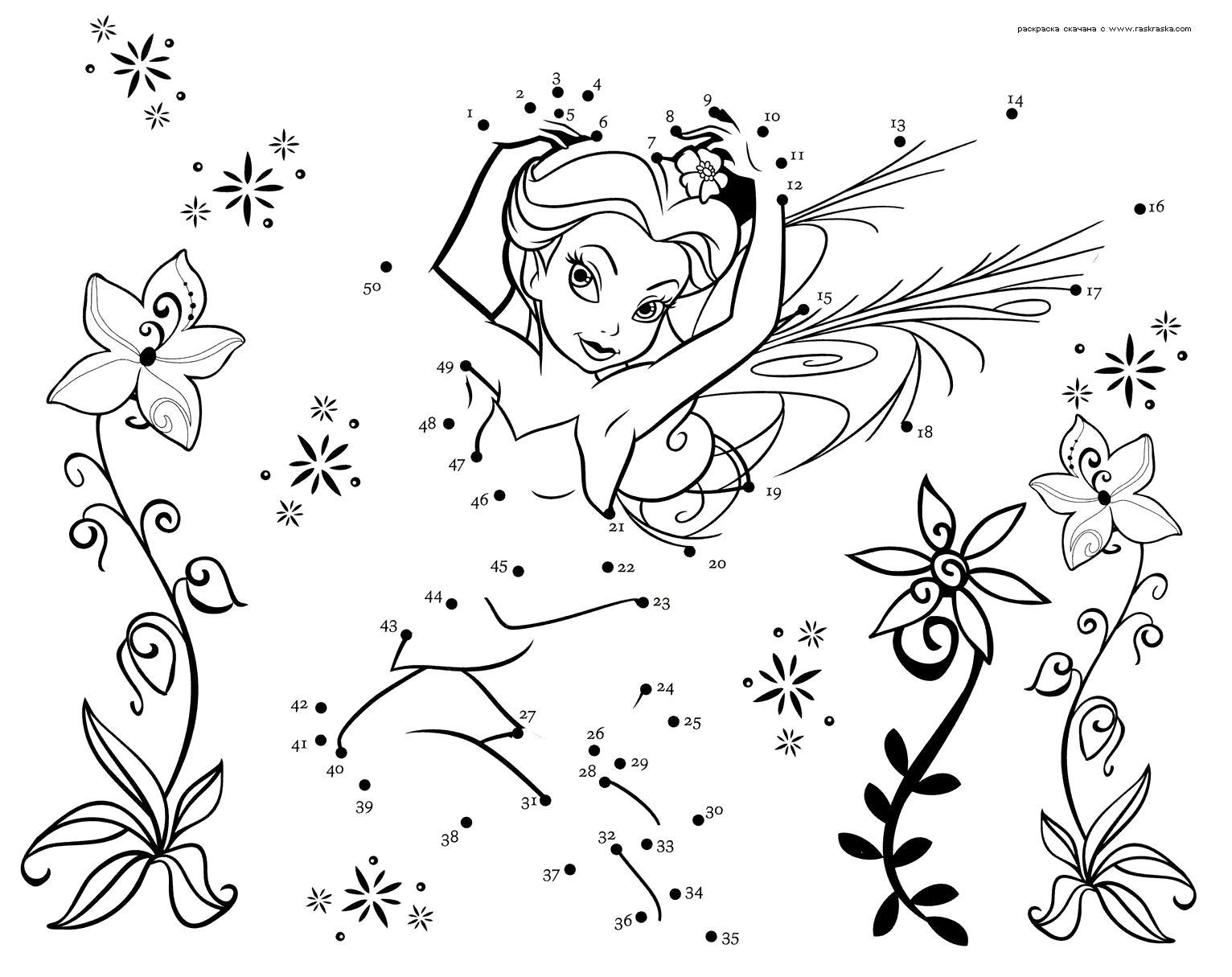 Раскраска  Соедини точки.  -игра для девочек из мультфильма  Феи. Скачать фея.  Распечатать мифические существа