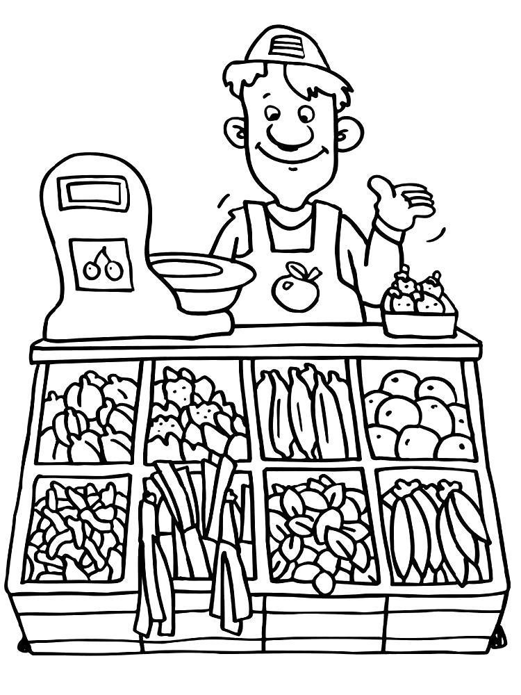 Раскраска Продавец овощей. Скачать .  Распечатать