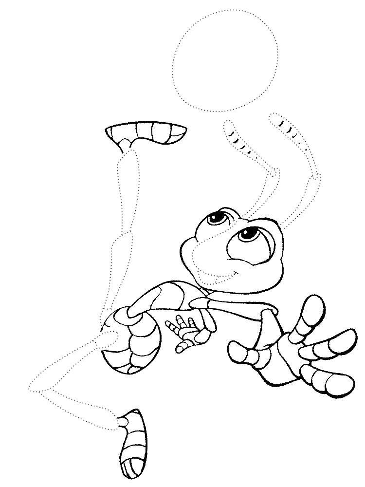 Раскраска Картинки Приключения Флика для раскрашивания. Обведи по точкам и раскрась.. Скачать обведи по точкам.  Распечатать дорисуй по точкам