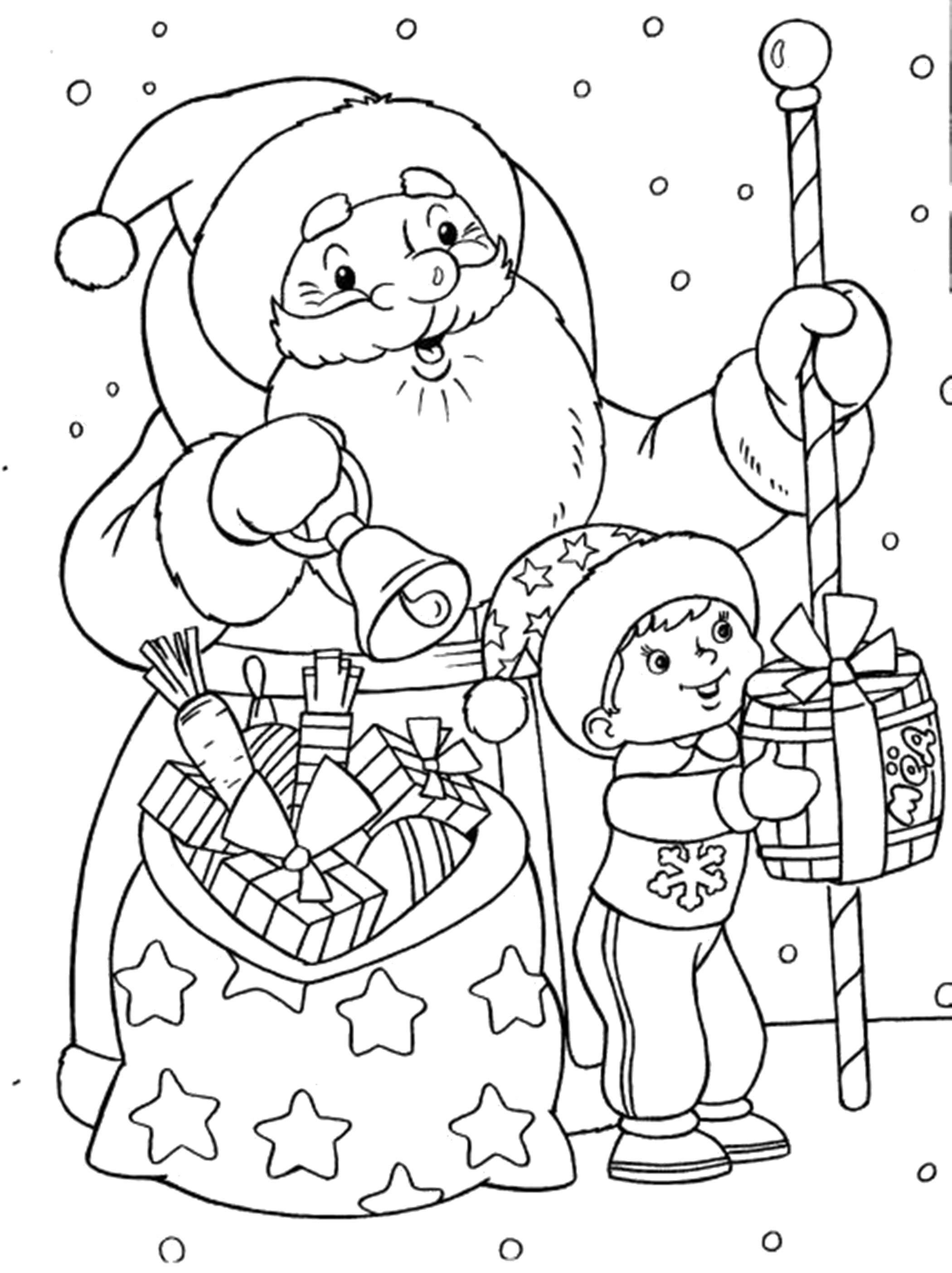 Раскраска дед мороз принес подарки, дед мороз и мальчик, дед мороз дарит подарки, мальчик дарит подарки, дед мороз звенит в колокол. Скачать новогодние.  Распечатать новогодние