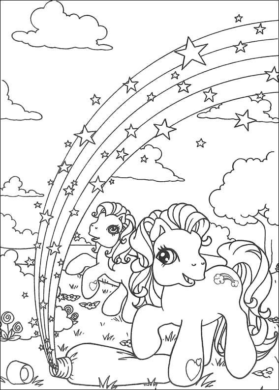 Раскраска две пони и радуга со звездами. Скачать пони.  Распечатать пони